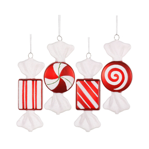 "Peppermint Candy Ornaments 6"" Set of 4 Asst."