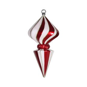 "Peppermint Onion Finial 12"" Set of 2 Red/White"