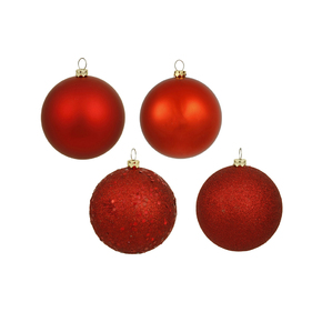 "Red Ball Ornaments 6"" Assorted Finish Set of 4"