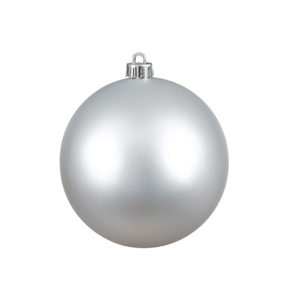 "Silver Ball Ornaments 4"" Matte Set of 6"